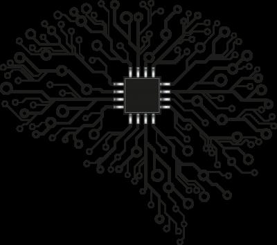 Gehirnförmiges Konstrukt, welches aus Chip-Komponenten besteht