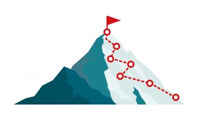 Spitze eines Berges mit verschiedenen Checkpoints erklimmen