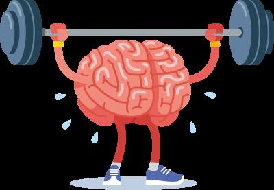 Ein vermenschlichtes Gehirn stemmt eine Langhantel