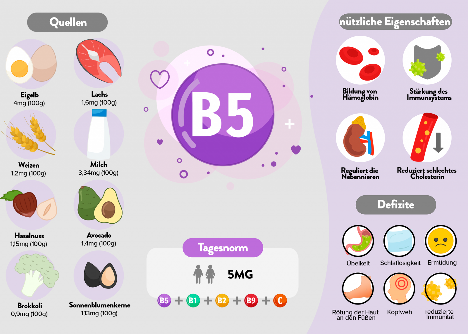 Vitamin b5 Infografik